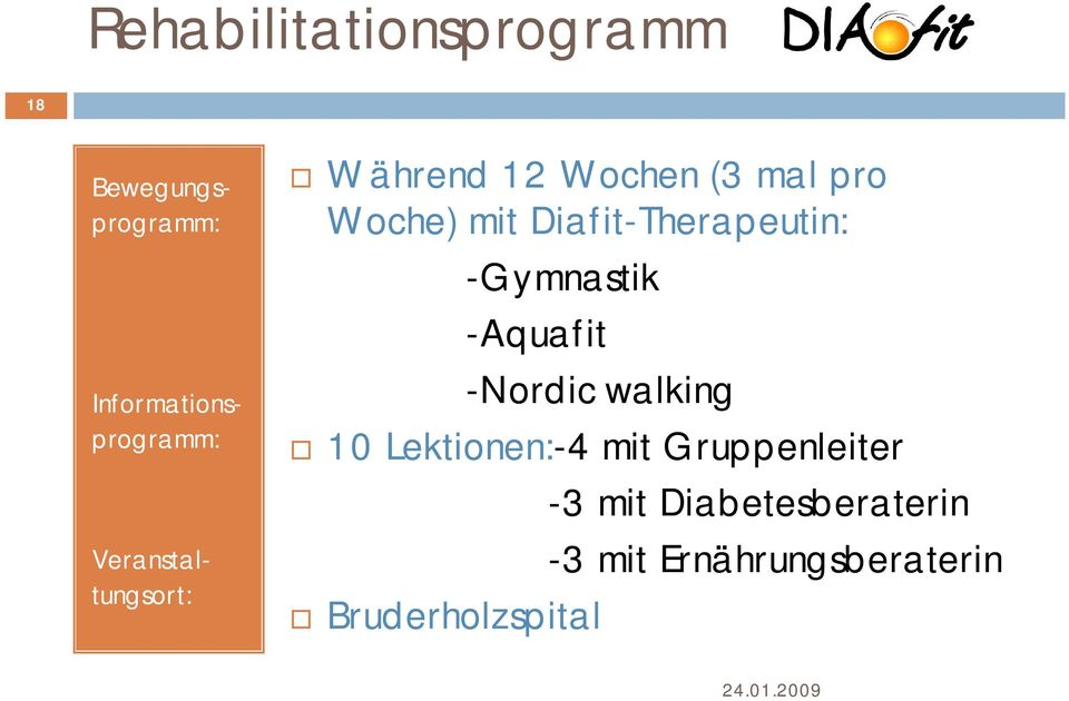 Diafit-Therapeutin: -Gymnastik -Aquafit -Nordic walking 10 Lektionen:-4