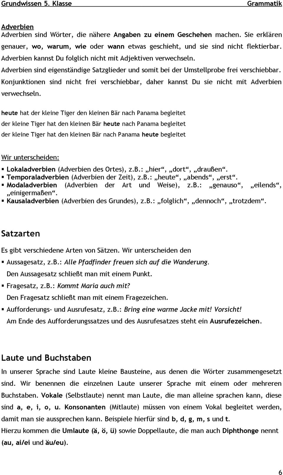 Fine 5Klasse Adverb Arbeitsblatt Collection - Kindergarten ...
