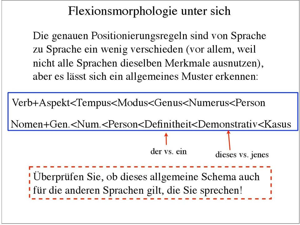allgemeines Muster erkennen: erb+spekt<tempus<modus<genus<umerus<person omen+gen.<um.<person<definitheit<demonstrativ<kasus der vs.