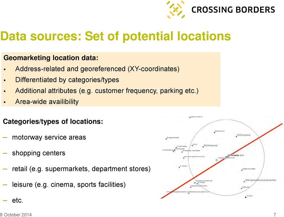 ) Area-wide availibility Categories/types of locations: motorway service areas shopping centers retail