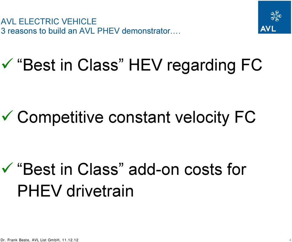 Best in Class HEV regarding FC Competitive