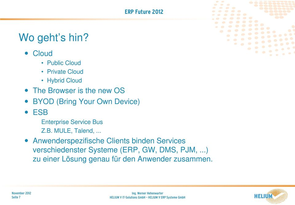 (Bring Your Own Device) ESB Enterprise Service Bus Z.B. MULE, Talend,.