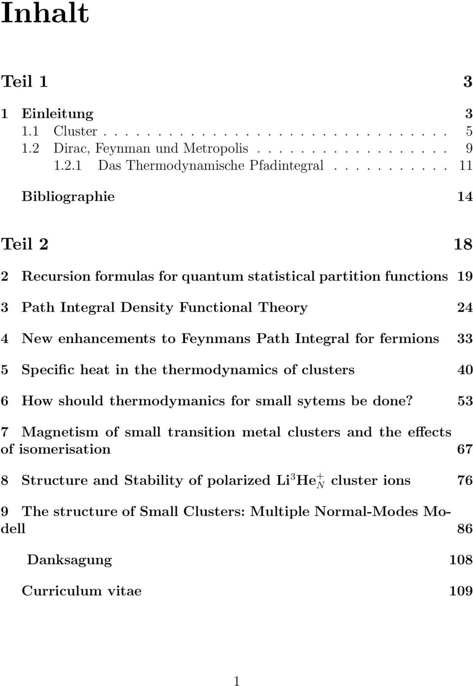 Feynmans Path Integral for fermions 33 5 Specific heat in the thermodynamics of clusters 40 6 How should thermodymanics for small sytems be done?