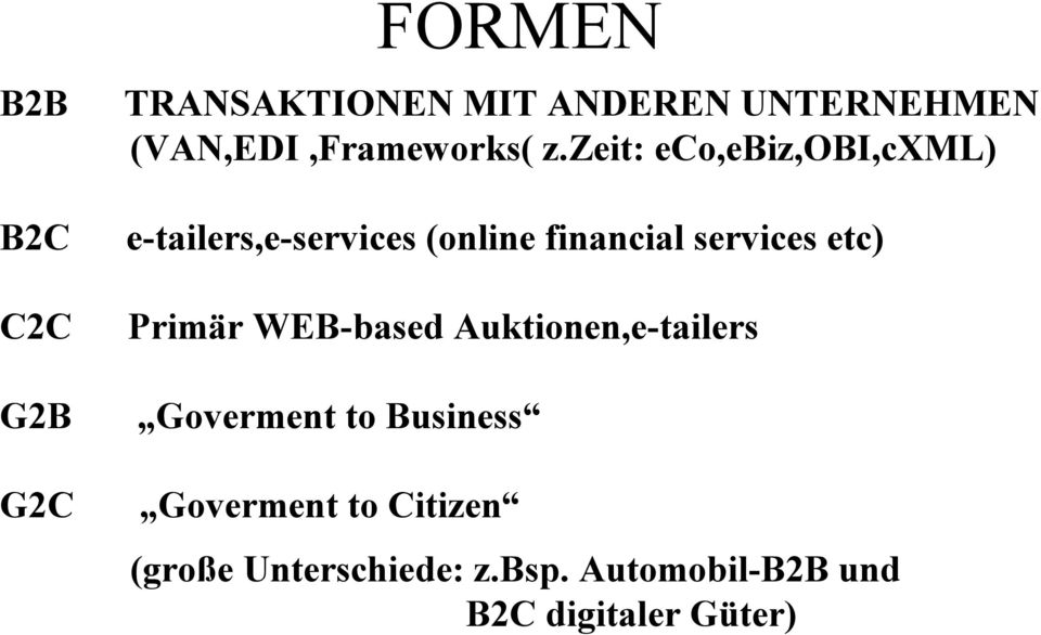 zeit: eco,ebiz,obi,cxml) e-tailers,e-services (online financial services etc)