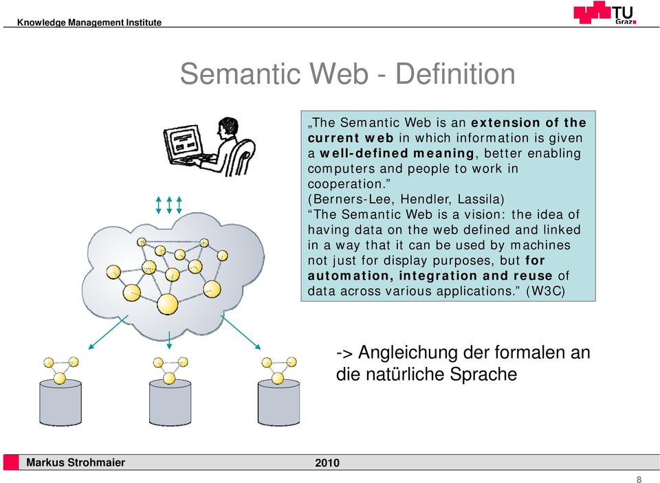 (Berners-Lee, Hendler, Lassila) The Semantic Web is a vision: the idea of having data on the web defined and linked in a way that