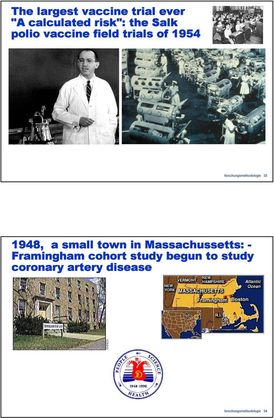 1948, a small town in Massachussetts: - Framingham cohort