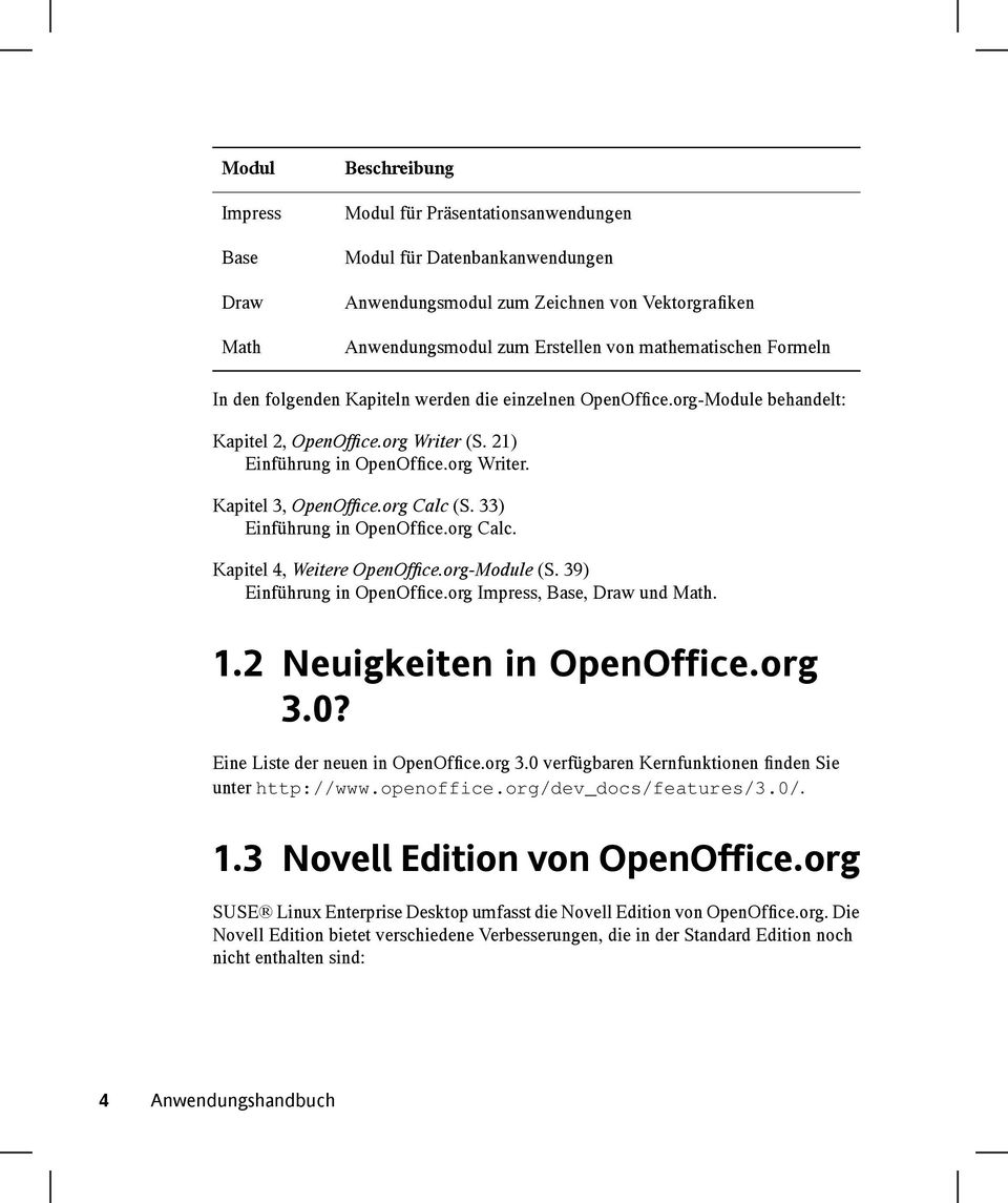 org Calc (S. 33) Einführung in OpenOffice.org Calc. Kapitel 4, Weitere OpenOffice.org-Module (S. 39) Einführung in OpenOffice.org Impress, Base, Draw und Math. 1.2 Neuigkeiten in OpenOffice.org 3.0?