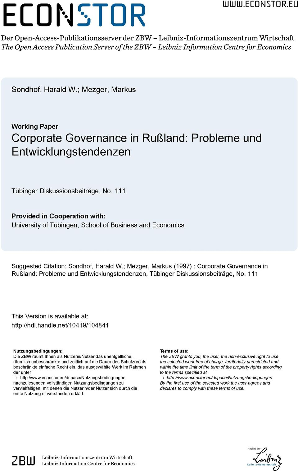 111 Provided in Cooperation with: University of Tübingen, School of Business and Economics Suggested Citation: Sondhof, Harald W.
