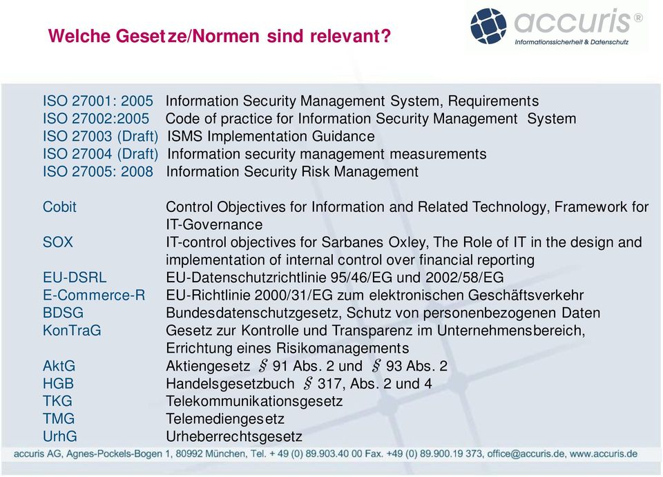 (Draft) Infrmatin security management measurements ISO 27005: 2008 Infrmatin Security Risk Management Cbit Cntrl Objectives fr Infrmatin and Related Technlgy, Framewrk fr IT-Gvernance SOX IT-cntrl