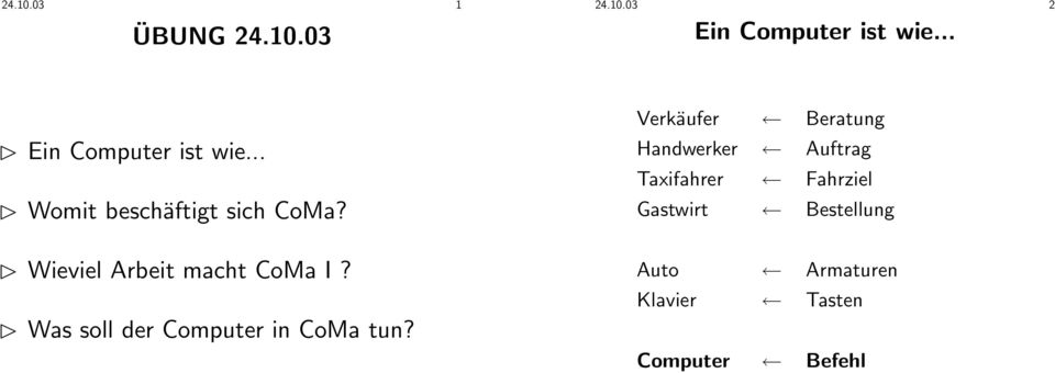 Was soll der Computer in CoMa tun?