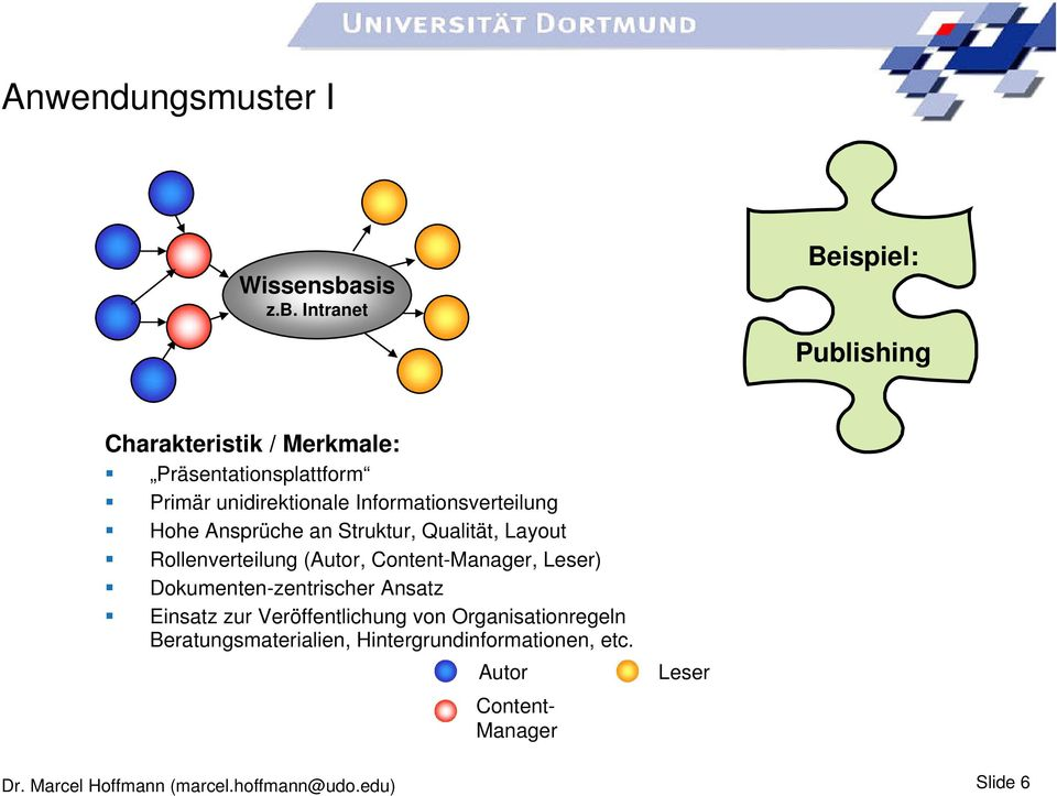 Intranet Beispiel: Publishing Charakteristik / Merkmale: Präsentationsplattform Primär unidirektionale