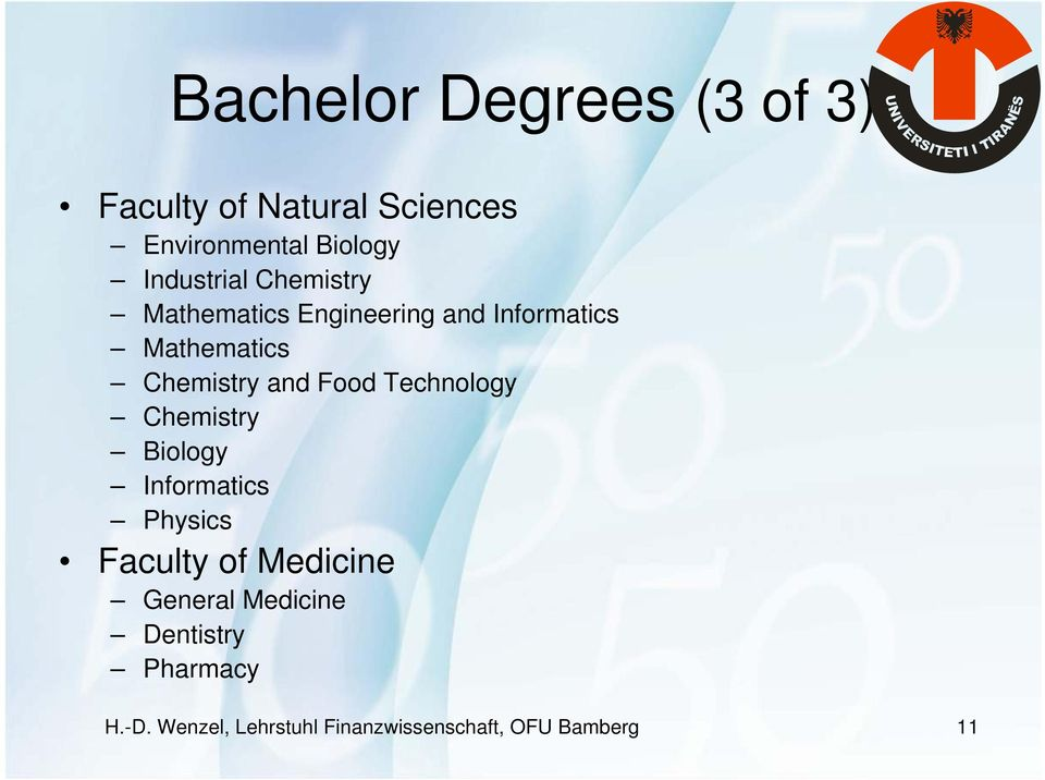 and Food Technology Chemistry Biology Informatics Physics Faculty of Medicine