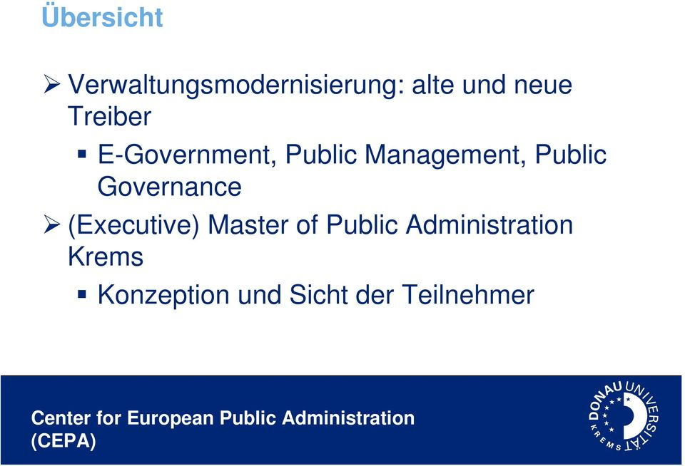 Public Governance (Executive) Master of Public