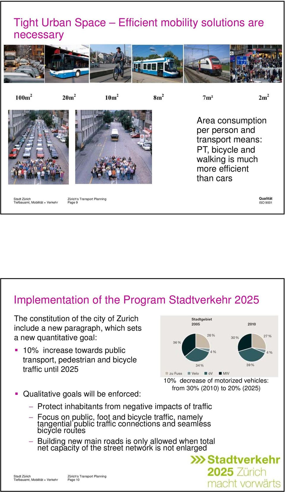 until 2025 Qualitative goals will be enforced: 10% decrease of motorized vehicles: from 30% (2010) to 20% (2025) Protect inhabitants from negative impacts of traffic Focus on public, foot and