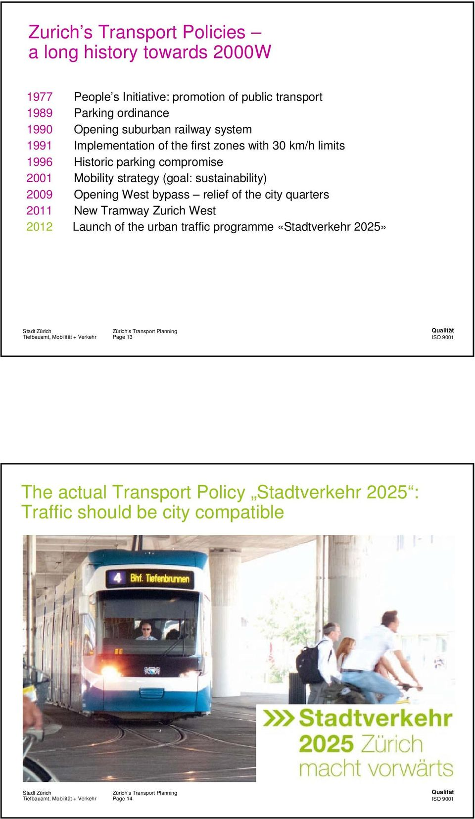 Mobility strategy (goal: sustainability) 2009 Opening West bypass relief of the city quarters 2011 New Tramway Zurich West 2012 Launch of