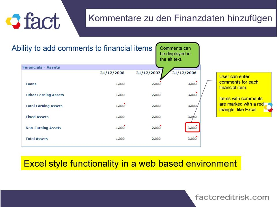 User can enter comments for each financial item.