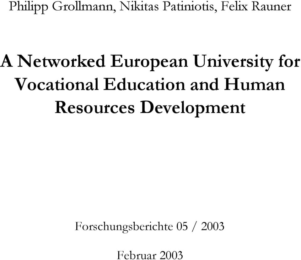 Vocational Education and Human Resources