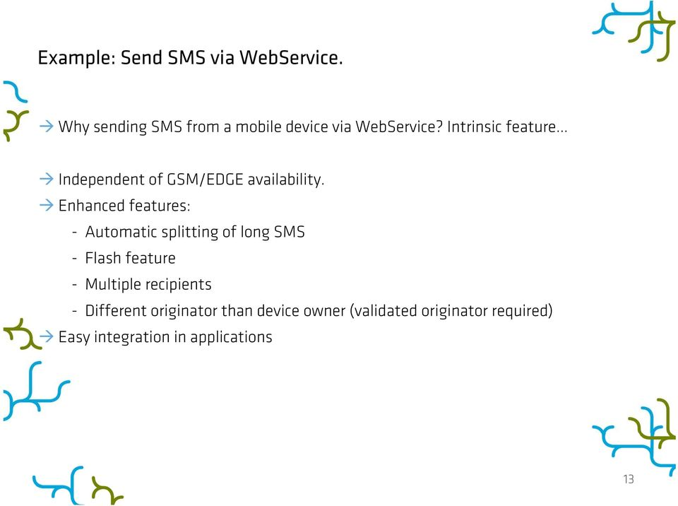 Enhanced features: - Automatic splitting of long SMS - Flash feature - Multiple