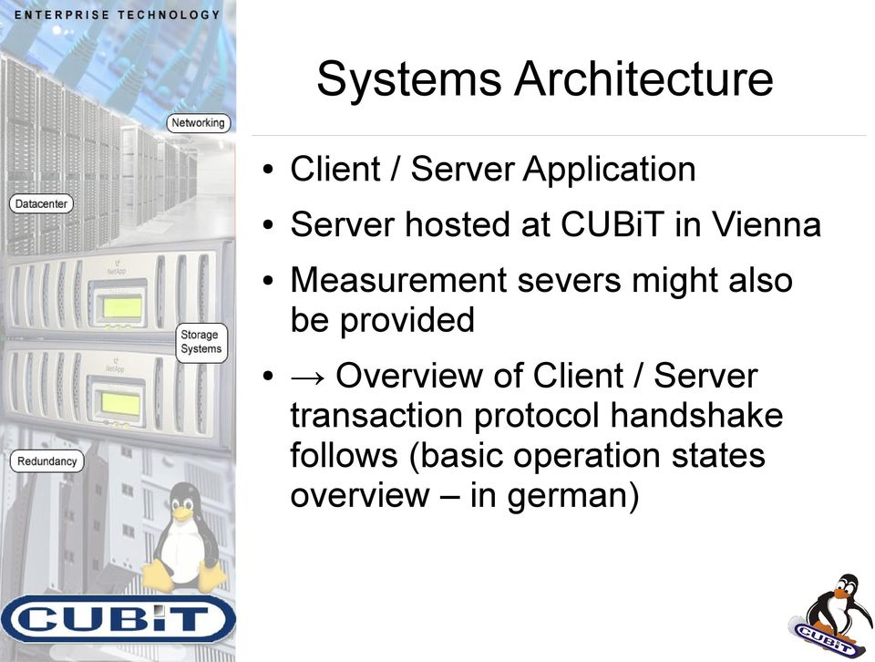 provided Overview of Client / Server transaction protocol