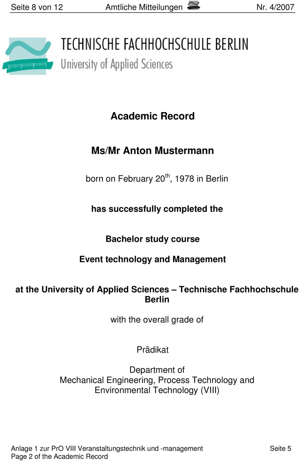study course Event technology and Management at the University of Applied Sciences Technische Fachhochschule Berlin with the