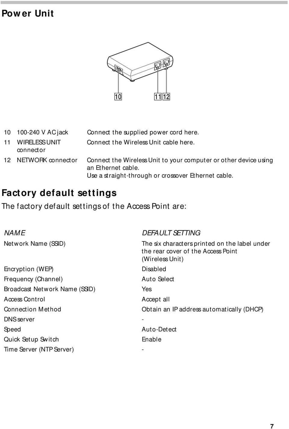 Factory default settings The factory default settings of the Access Point are: NAME DEFAULT SETTING Network Name (SSID) The six characters printed on the label under the rear cover of the