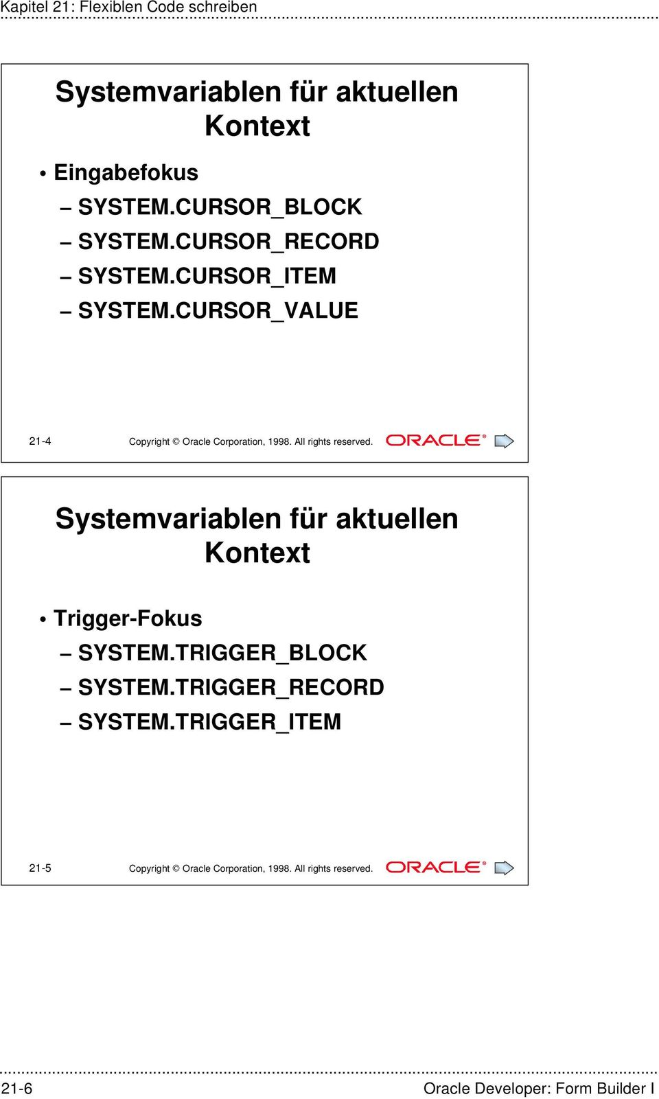 CURSOR_VALUE 21-4 Copyright Oracle Corporation, 1998. All rights reserved.