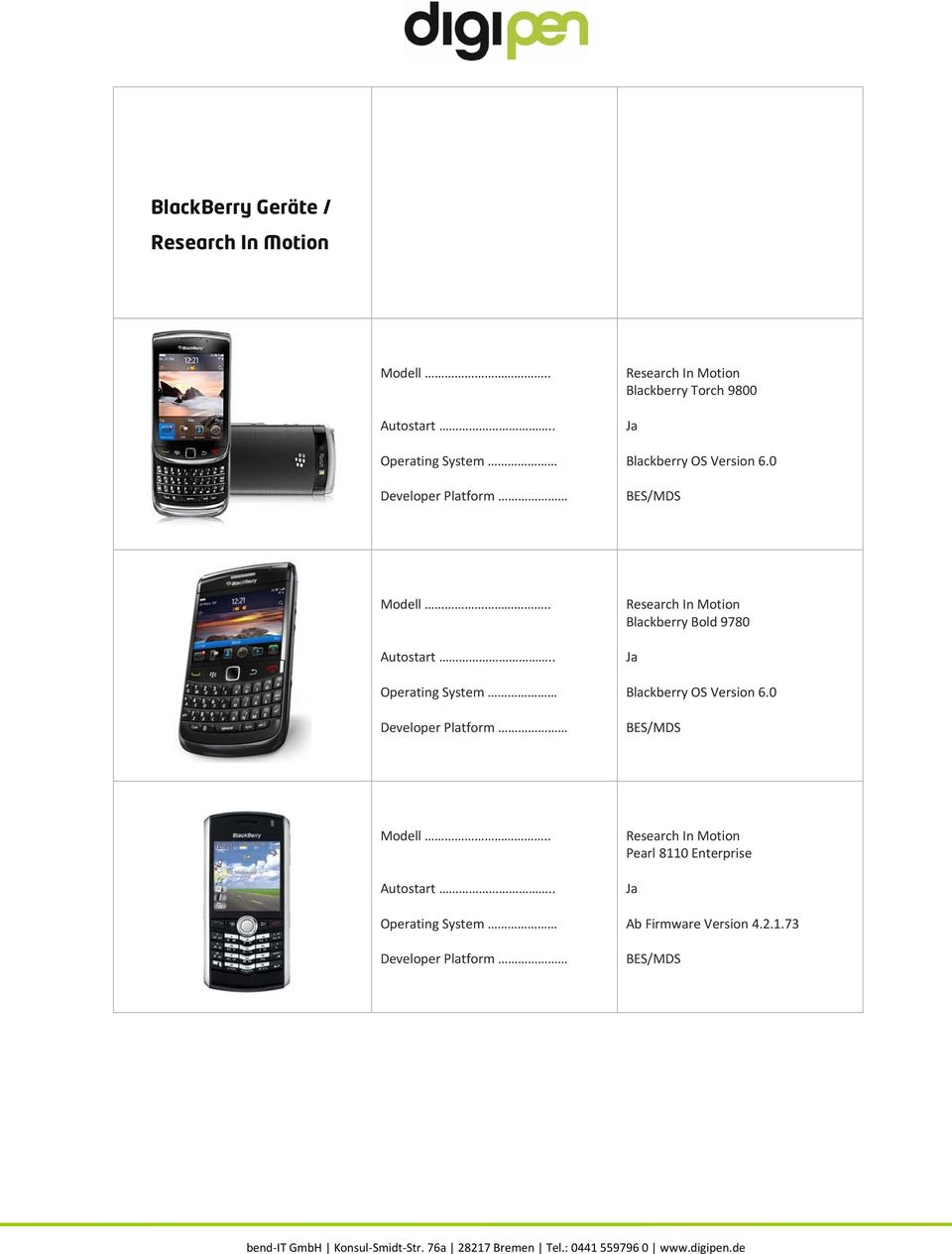 0 BES/MDS Research In Motion Blackberry Bold 9780 Blackberry OS