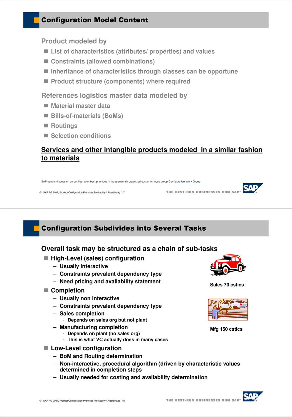 intangible products modeled in a similar fashion to materials SAP centric discussion on configuration best practices in independently organized customer focus group Configuration Work Group SAP AG