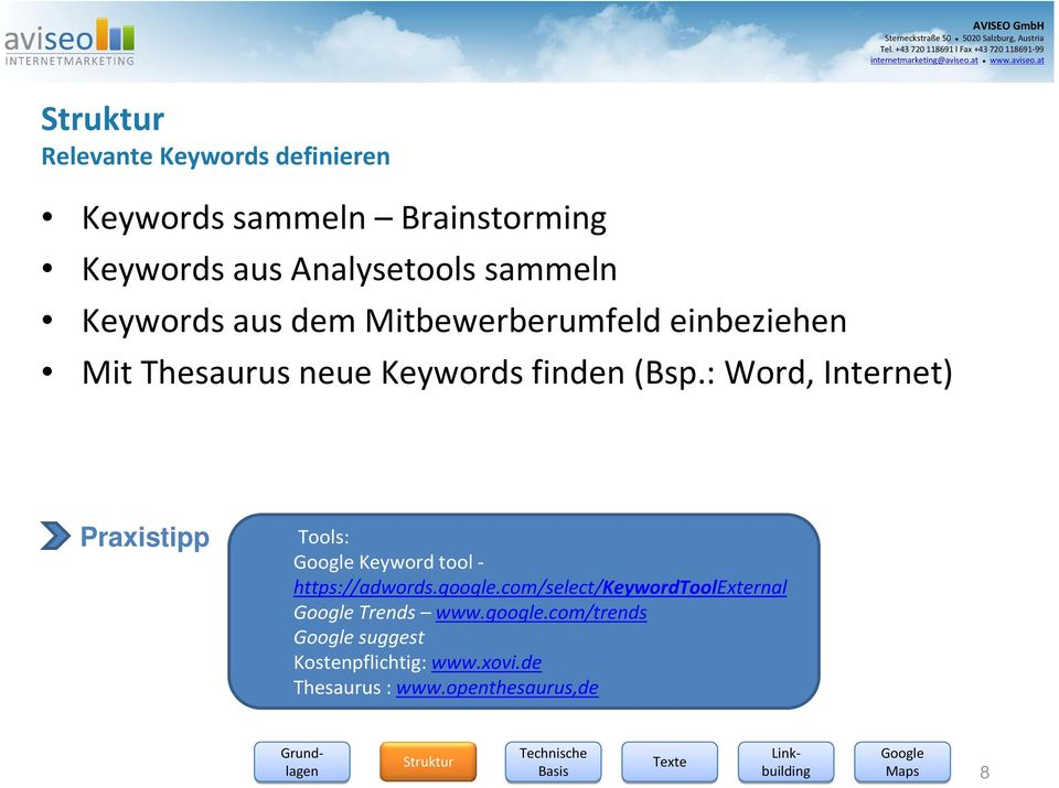 : Word, Internet) Praxistipp Tools: Keyword tool - https://adwords.google.