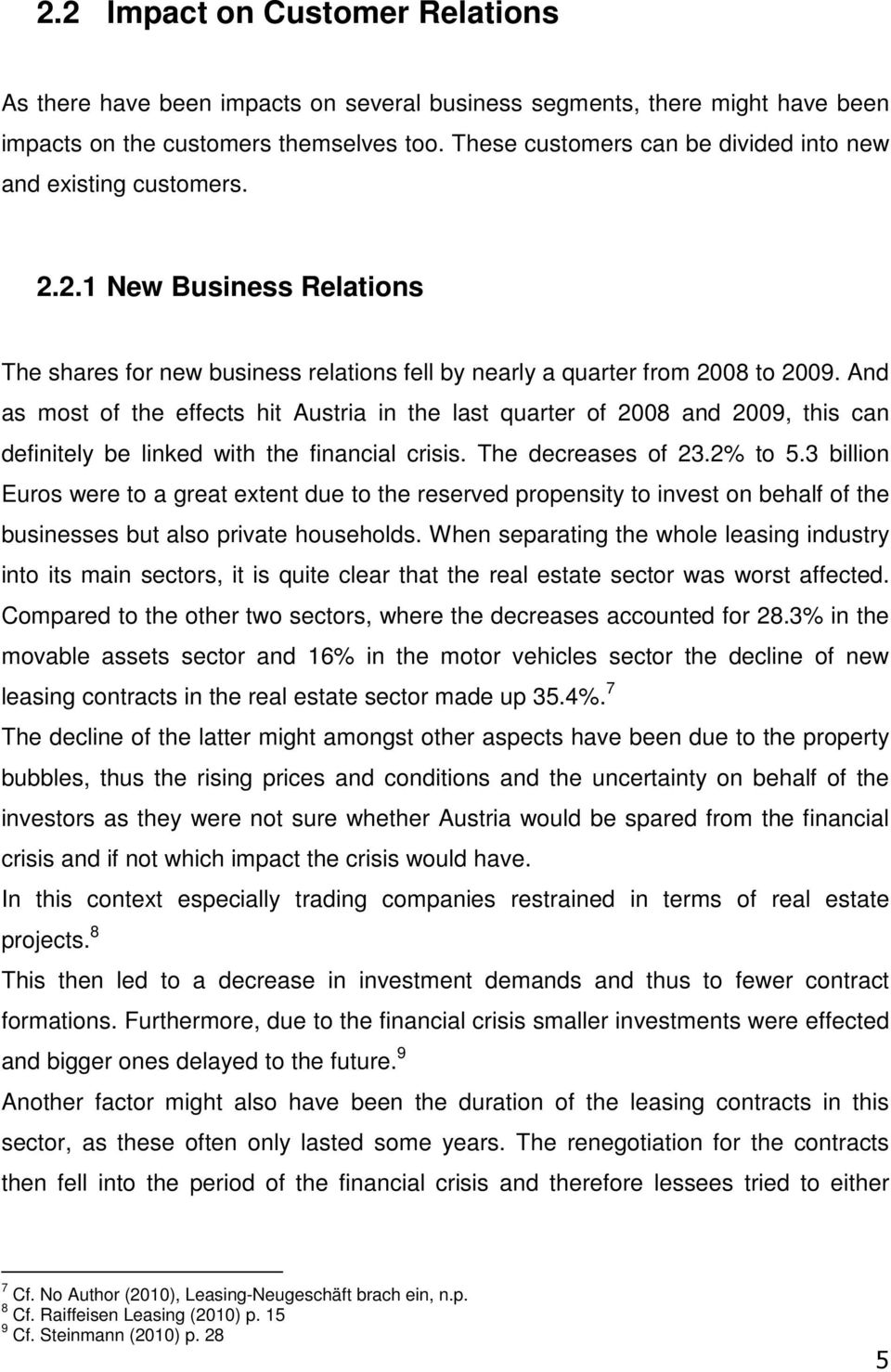 And as most of the effects hit Austria in the last quarter of 2008 and 2009, this can definitely be linked with the financial crisis. The decreases of 23.2% to 5.
