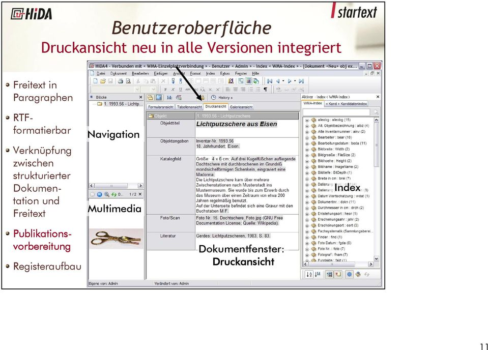 strukturierter Dokumentation und Freitext Navigation Multimedia