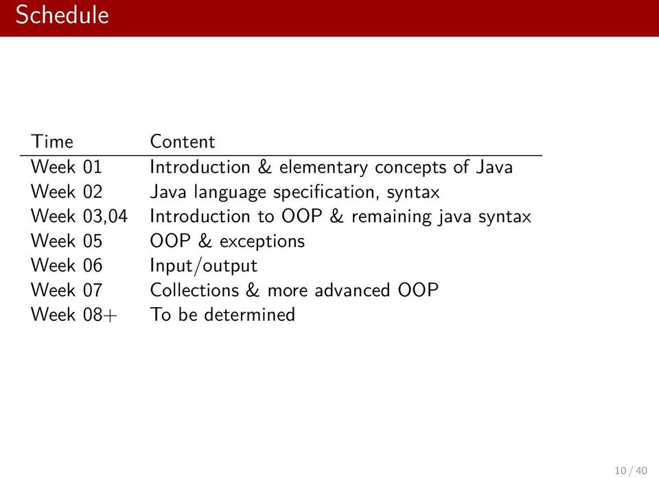 specification, syntax Introduction to OOP & remaining java syntax OOP &