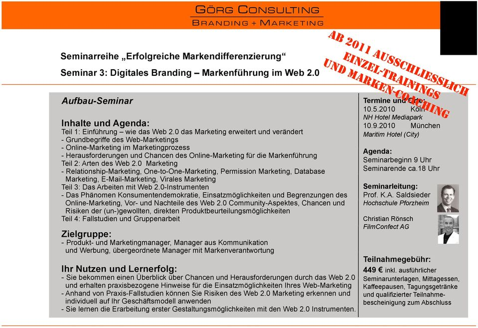Arten des Web 2.0 Marketing - Relationship-Marketing, One-to-One-Marketing, Permission Marketing, Database Marketing, E-Mail-Marketing, Virales Marketing Teil 3: Das Arbeiten mit Web 2.