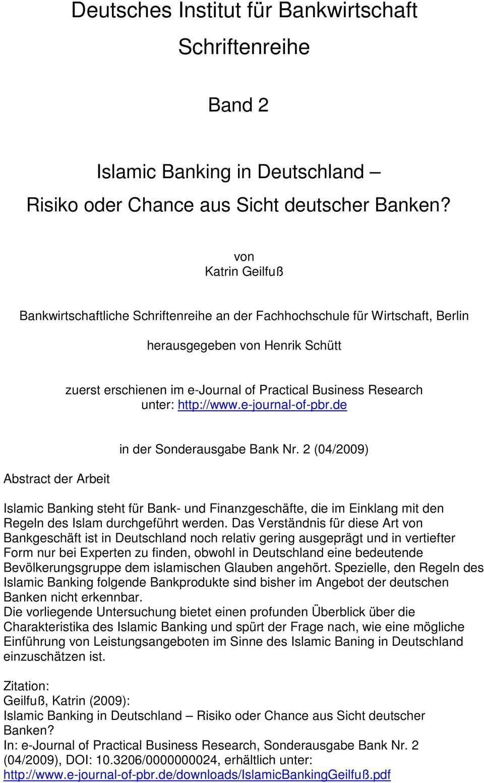 http://www.e-journal-of-pbr.de Abstract der Arbeit in der Sonderausgabe Bank Nr.