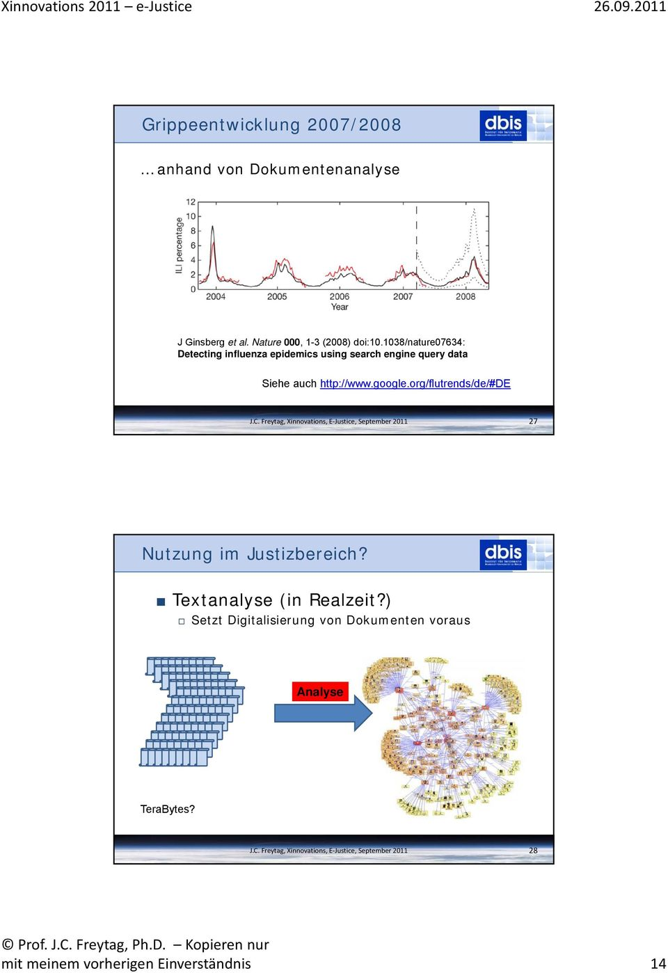 1038/nature07634: Detecting influenza epidemics using search engine query data Siehe auch