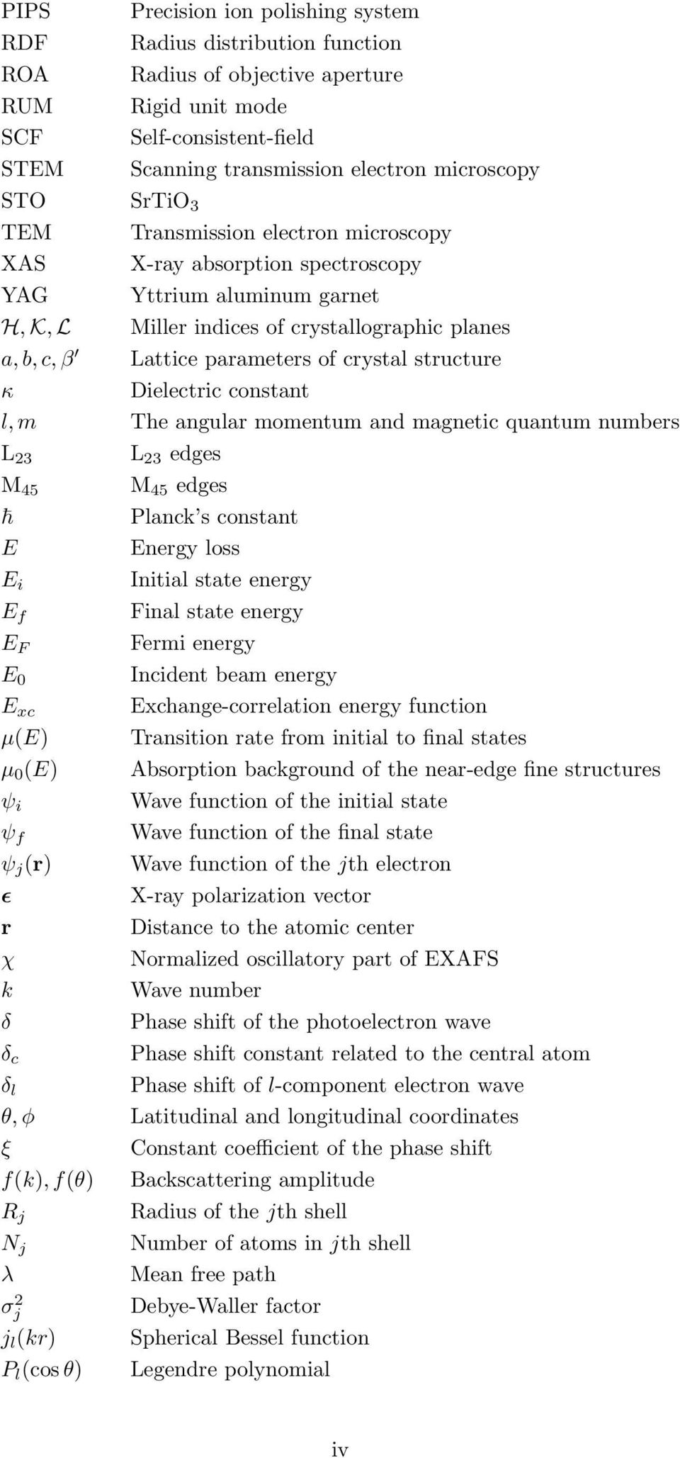 structure κ Dielectric constant l, m The angular momentum and magnetic quantum numbers L 23 L 23 edges M 45 M 45 edges Planck s constant E Energy loss E i Initial state energy E f Final state energy