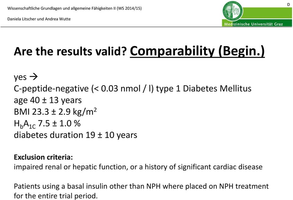 0 % diabetes duration 19 ±10 years Exclusion criteria: impaired renal or hepatic function, or a