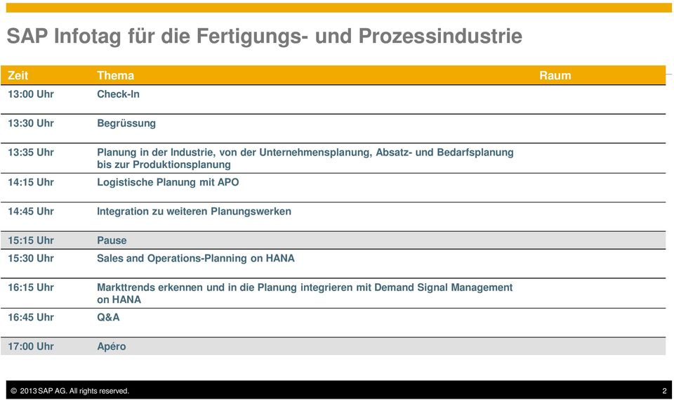 14:45 Uhr Integration zu weiteren Planungswerken 15:15 Uhr Pause 15:30 Uhr Sales and Operations-Planning on HANA 16:15 Uhr Markttrends