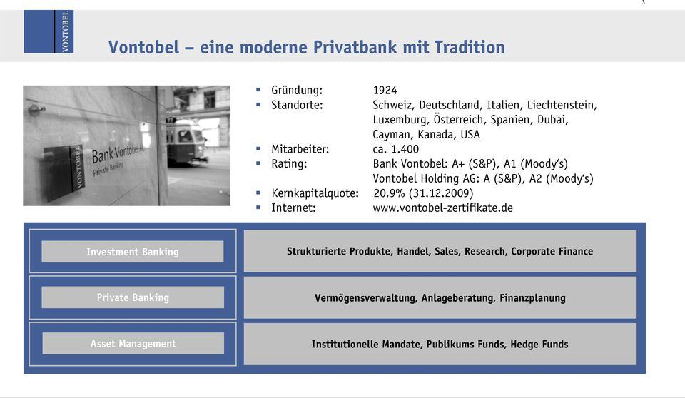 400 Rating: Bank Vontobel: A+ (S&P), A1 (Moody s) Vontobel Holding AG: A (S&P), A2 (Moody s) Kernkapitalquote: 20,9% (31.12.2009) Internet: www.