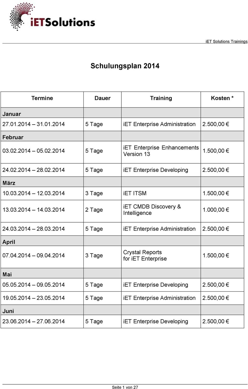 03.2014 14.03.2014 2 Tage iet CMDB Discovery & Intelligence 1.000,00 24.03.2014 28.03.2014 5 Tage iet Enterprise Administration 2.500,00 April 07.04.