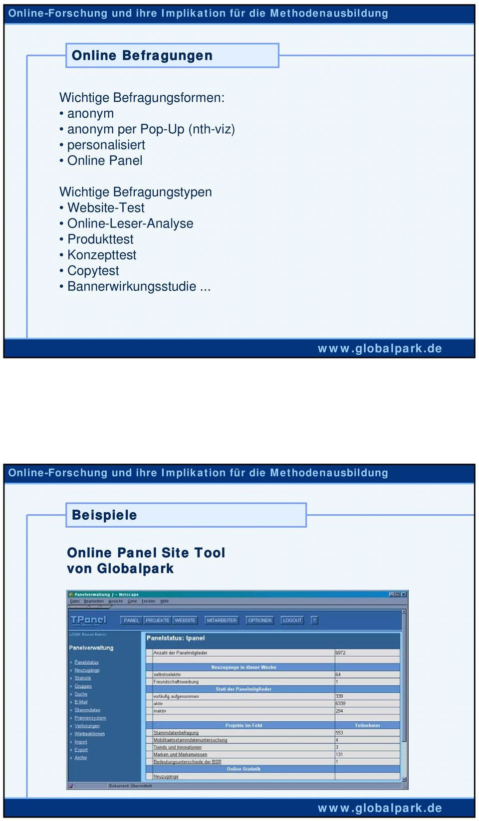 Befragungstypen Website-Test Online-Leser-Analyse Produkttest