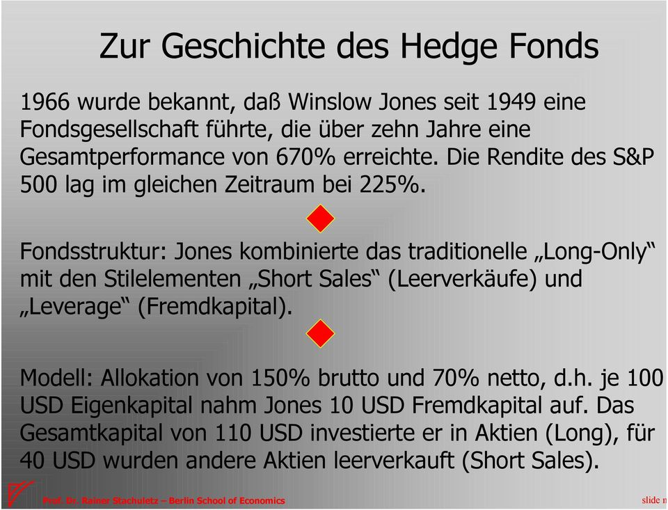 Fondsstruktur: Jones kombinierte das traditionelle Long-Only mit den Stilelementen Short Sales (Leerverkäufe) und Leverage (Fremdkapital).