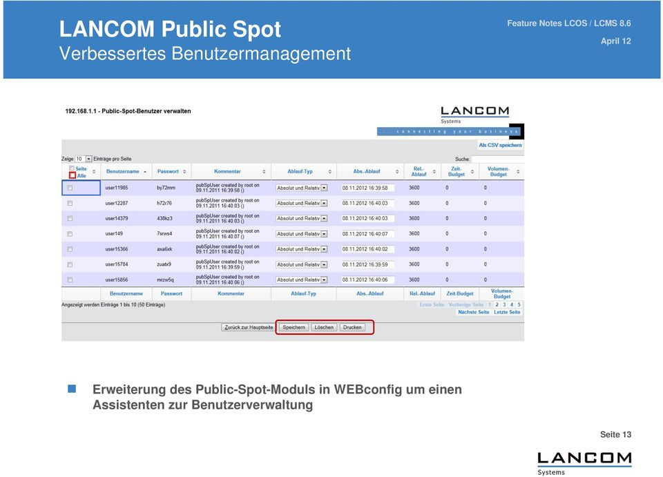 Public-Spot-Moduls in WEBconfig um