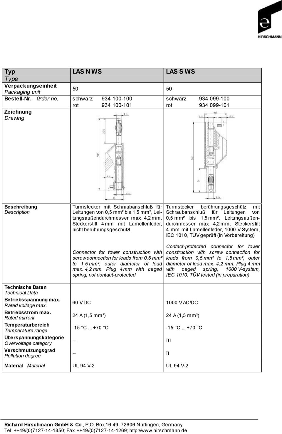 Steckerstift 4 mm mit Lamellenfeder, 1000 V-System, IEC 1010, TÜV geprüft (in Vorbereitung) Connector for tower construction with screw connection for leads from 0,5 mm² to 1,5 mm², outer diameter of