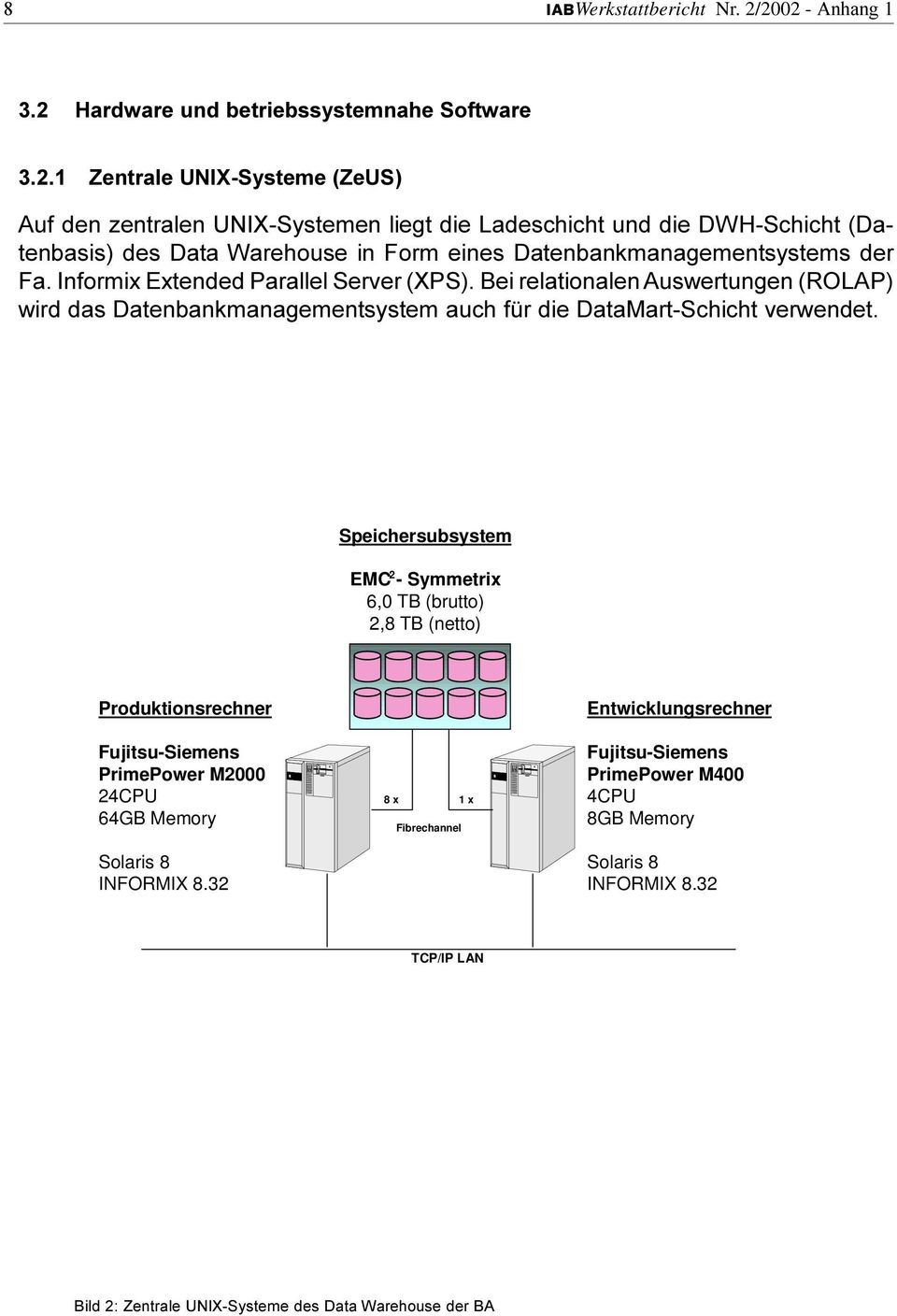 Data Warehouse in Form eines Datenbankmanagementsystems der Fa Informix Extended Parallel Server (XPS) Bei relationalen Auswertungen (ROLAP) wird das Datenbankmanagementsystem auch für die