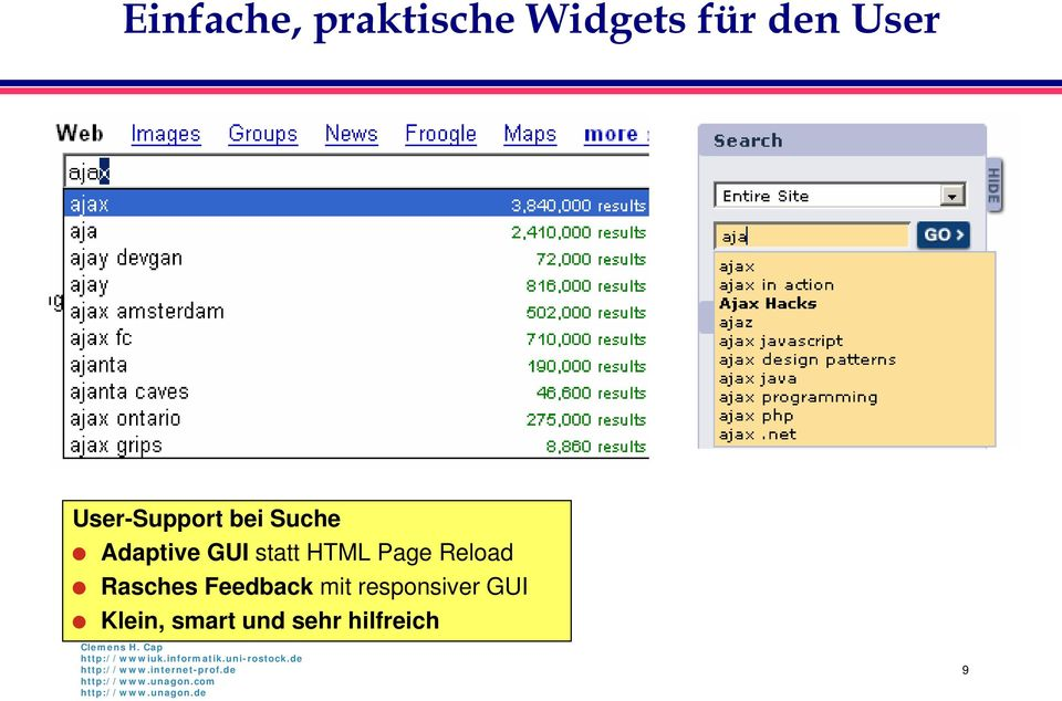 HTML Page Reload Rasches Feedback mit