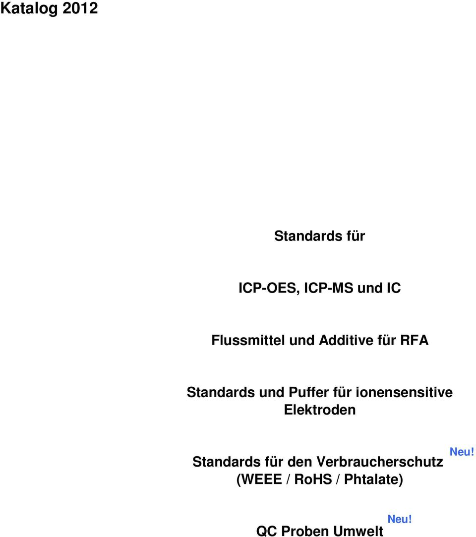 für ionensensitive Elektroden Standards für den