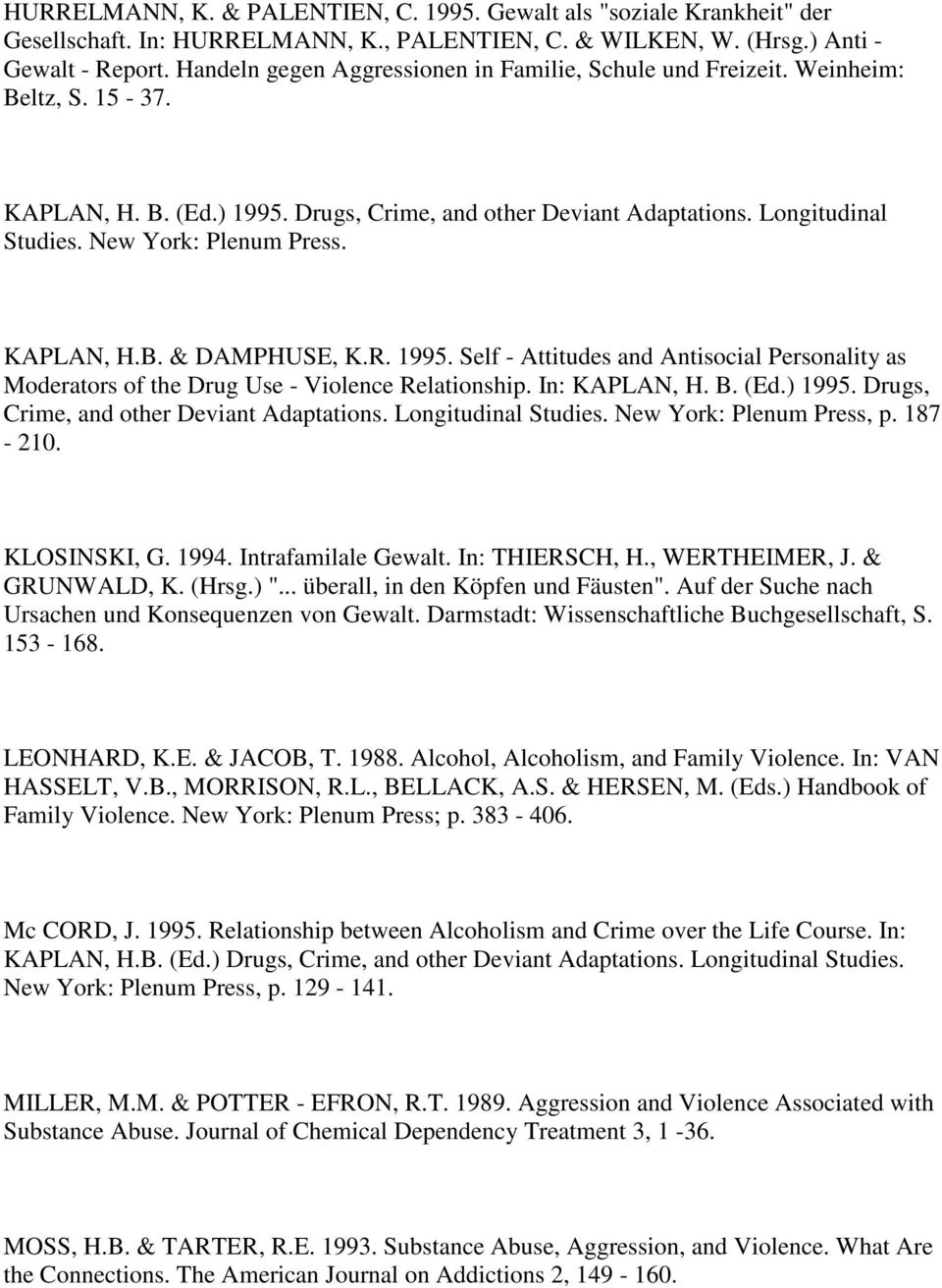 New York: Plenum Press. KAPLAN, H.B. & DAMPHUSE, K.R. 1995. Self - Attitudes and Antisocial Personality as Moderators of the Drug Use - Violence Relationship. In: KAPLAN, H. B. (Ed.) 1995.