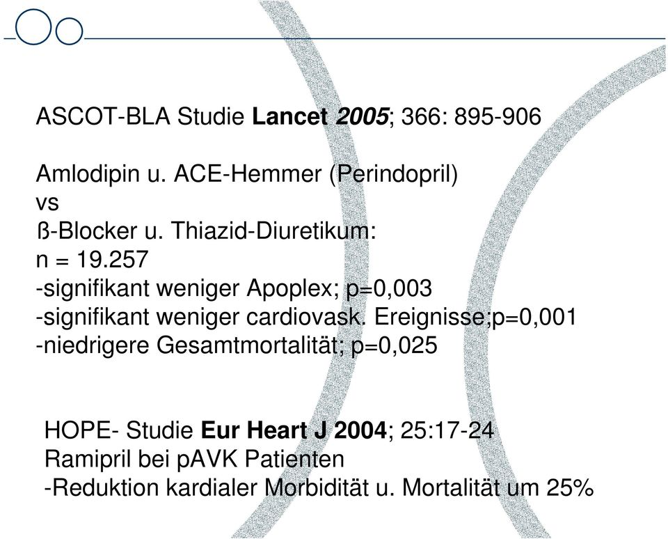 257 -signifikant weniger Apoplex; p=0,003 -signifikant weniger cardiovask.