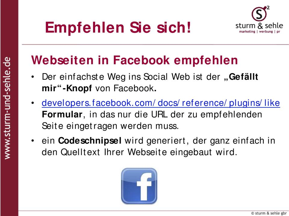 -Knopf von Facebook. developers.facebook.